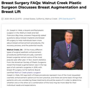 Walnut Creek plastic surgeon Joseph A. Mele, MD provides an overview of breast augmentation and breast lift surgery.